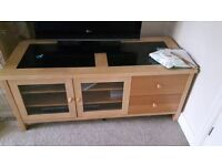 TV cabinet and two drawer unit in light wood
