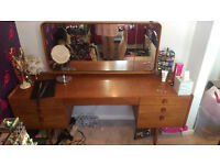 Retro mid century danish style teak dressing table with large mirror and 7 drawers
