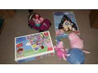 Peppa Pig musical car, jigsaw, game, toys bundle