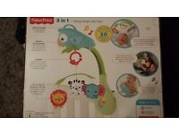 Rainforest Friends 3in1 musical mobile suitable for crib stroller or as a take along toy