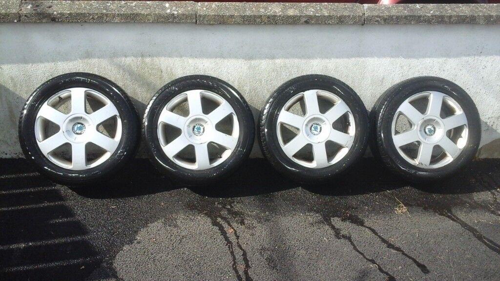 Four Alloy Wheels and Yokohama tyres Skoda Superb 05 ( VW, Seat, etc )
