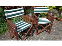 Two Solid Wood, Collapsible Garden Director's Chairs