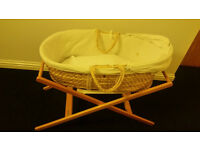 John Lewis Moses Basket and Wooden Stand