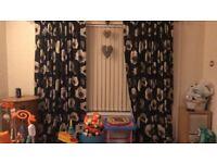 Black poppy curtains