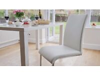 TO CLEAR Danetti Verona Brand New Sleek White Faux Leather Cantilever Dining Chair
