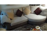 corner settee cream and brown , with extra covers