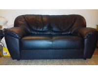 SOFA - BLACK LEATHER TWO SEATER