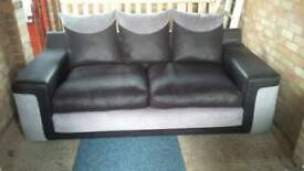 Black & grey 3 seater couch