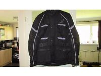 "Black brand All season full length Motorcycle Jacket size XL upto 44"" chest VGC"