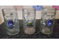 "3 x 1 Liter HB "" Hofbrauhaus Oktoberfest "" Kloster Andecks Dimpled Glass Beer Stein Mug from Germany"