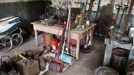 Yard sale this weekend! Vintage stuff, retro TV's, wooden sink, old car parts, antique garden tools