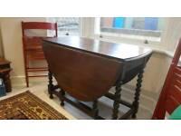 Antique 1930's Oak Drop Leaf Table Bobble Gate Leg Kitchen / Dining Table