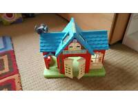 Etc happy land fire station and extras Fisher price animals.