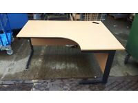 160cm Beech Effect Curved Corner Desk - Left & Right Hands