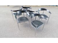 Six Designe Vintage Italian Leather Chrome Chairs by Arper,Delivery Available
