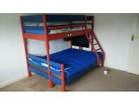Spiderman Triple (double/single) Wooden Bunk Bed - Hand made and painted