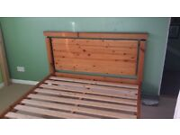 ANTIQUE PINE DOUBLE BED WITH MEMORY FOAM MATTRESS