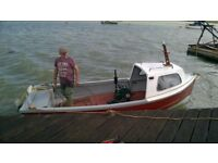 16FT FIBERGLASS FISHING DAY BOAT WITH INBOARD PETTER ENGINE AND TRAILER