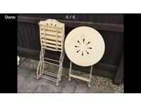 Vintage iron patio garden table and 2 chairs