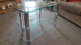 Glass and chrome TV stand, 3 tiers, excellent condition