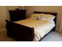 Solid Mahogany Double Sleigh Bed with High Footboard