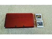 Metallic Red 3DS with charger and 2 games
