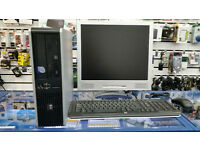 HP PC with monitor, Intel Core 2 DUO 2.33 GHz, 4GB RAM, 500GB HDD, DVD, Windows 10, monitor