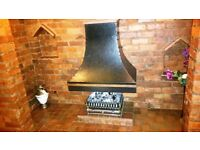 Inglenook fireplace Gas Heater with coals, and ornate canopy hood. Must see! Offers!