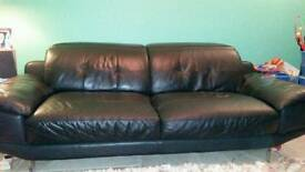 Black leather sofas 3 and 2 seater