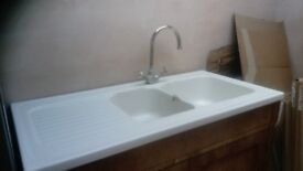 Double ceramic Belfast sink and cabinet