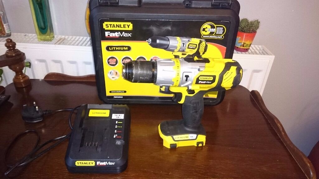 Stanley Fatmax 18V Cordless Hammer Drill + Charger + Stanley Plastic Case = £25
