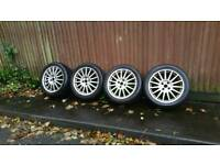 "SET of 4 17""alloy wheels with good tyres"