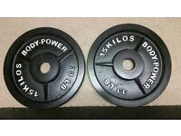 Body-Power Olympic weight plates 2 x 15 KG not cheap very gd quality and as new