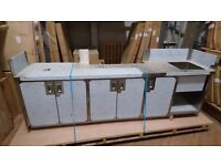 BRAND NEW- Stainless steel food preparation bench with built in units, splashback, sink & ice bin