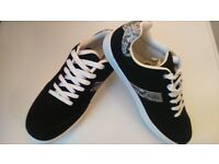 ON TREND! Ladies Capsule Active Black Trainers with Snake Print Trim NEW Size 7