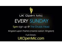 UK Open Mic | 5pm | EVERY SUNDAY @ The Druids Head, Kingston (Richmond, Surbiton, Hampton Wick)