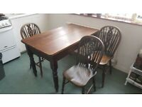 Kitchen Table Farmhouse Style with 3 Chairs