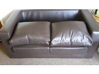 Brown leather box sofa