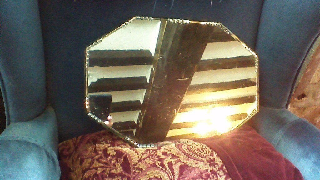Vintage French Bevelled Mirror / Dressing Table Tray