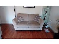 Pair of mink coloured sofas