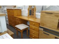 Pickwick Solid Pine 5 Drawer 1CupboardDouble Dressing Table Can Deliver