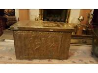 Antique brass wooden fieside log or coal box