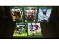 Minecraft £10, Farcry 4 Limited Edition, £20 Farcry Primal £20, Battlefront £10, Fifa 15 £5