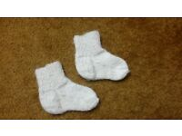 Home Hand made sole 10 cm Baby boy girl warm white wool blend winter socks 3-6-9-12 months