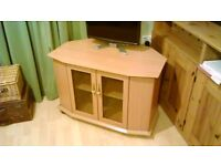 TV stand in beech with glazed doors (will haggle)