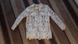 cream lined lace blouse new