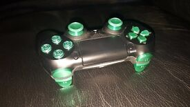 SONY DUALSHOCK 4 : GENUINE BLACK CONTROLLER WITH GREEN ANODISED ALUMINIUM PARTS FITTED