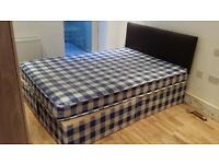 Double bed with Mattress on sale. Bed and mattress are both in very good condition. Pick Up only