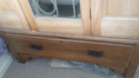 Atique Pine Wardrobe and Dressing Table