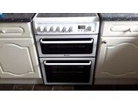 Hotpoint electric double oven cooker with ceramic hob